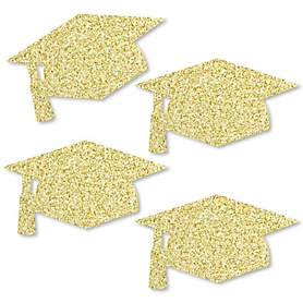 Gold Glitter Grad Cap - No-Mess Real Gold Glitter Cut-Outs - Graduation Party Confetti - Set of 24