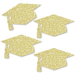 Gold Glitter Grad Cap - No-Mess Real Gold Glitter Cut-Outs - Graduation Party Confetti - Set of 24