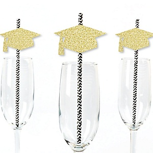 Gold Glitter Grad Cap Party Straws - No-Mess Real Gold Glitter Cut-Outs & Decorative Graduation Party Paper Straws - Set of 24
