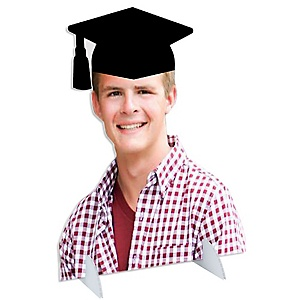 Grad Cap Photo Cutout Stand - Custom Picture Cut Out Graduation Party Decorations - Upload 1 Photo - Photo Stand - 1 Piece