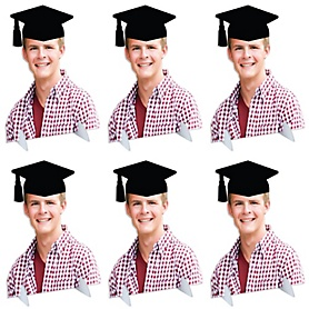 Grad Cap Photo Cutout Tabletop Stand - Custom Picture Cut Out Graduation Party Centerpieces - Upload 1 Photo - Photo Tabletop Stands - 6 Pieces