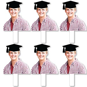 Grad Cap Photo Cutout Paddles - Custom Graduation Cut Out Photo and Fan Props - Upload 1 Photo - Picture Paddles - 6 Pieces