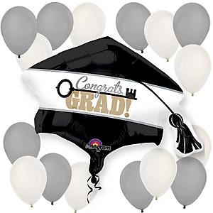 Congrats Grad - Key to Success Silver and White Graduation Party Balloon Kit