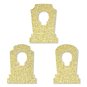 Gold Glitter Tombstones - No-Mess Real Gold Glitter Cut-Outs - Halloween Party Confetti - Set of 24