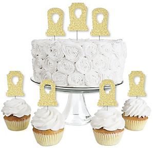 Gold Glitter Tombstones - No-Mess Real Gold Glitter Dessert Cupcake Toppers - Graveyard Halloween Party Clear Treat Picks - Set of 24