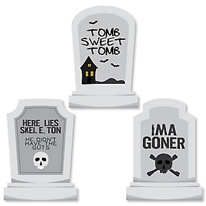 Graveyard Tombstones - DIY Shaped Halloween  Party Cut-Outs - 24 ct