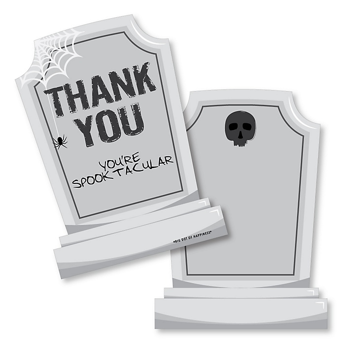Graveyard Tombstones - Shaped Thank You Cards - Halloween Party Thank You Note Cards with Envelopes - Set of 12