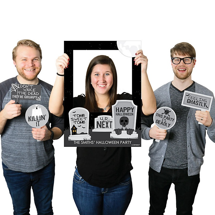 Graveyard Tombstones - Personalized Halloween  Selfie Photo Booth Picture Frame & Props - Printed on Sturdy Material
