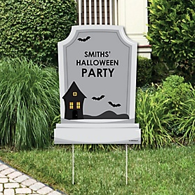 Graveyard Tombstones - Party Decorations - Halloween  Party Personalized Welcome Yard Sign