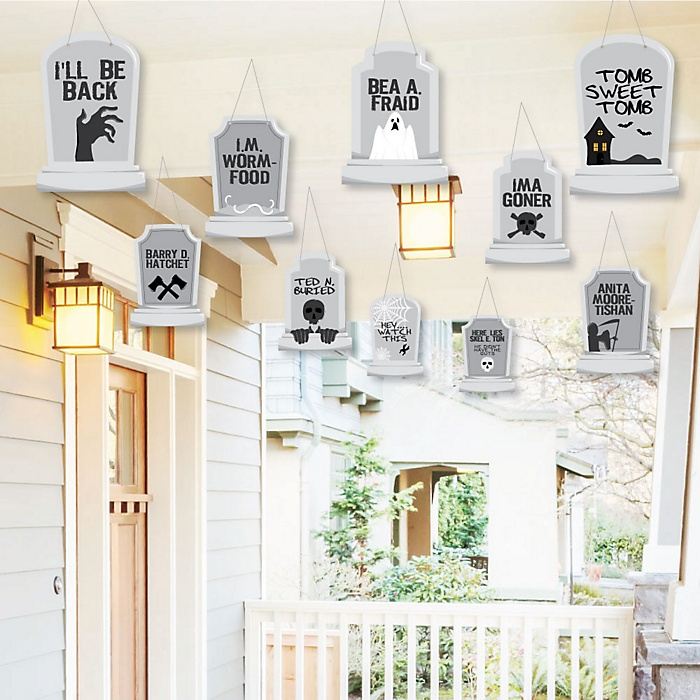 Hanging Graveyard Tombstones - Outdoor Halloween Party Hanging Porch & Tree Decorations - 10 Pieces