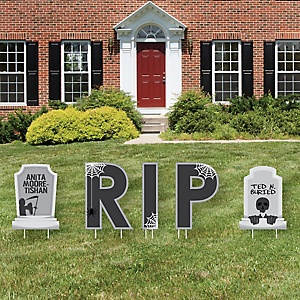 Graveyard Tombstones - Yard Sign Outdoor Lawn Decorations - Halloween Party Yard Signs - RIP