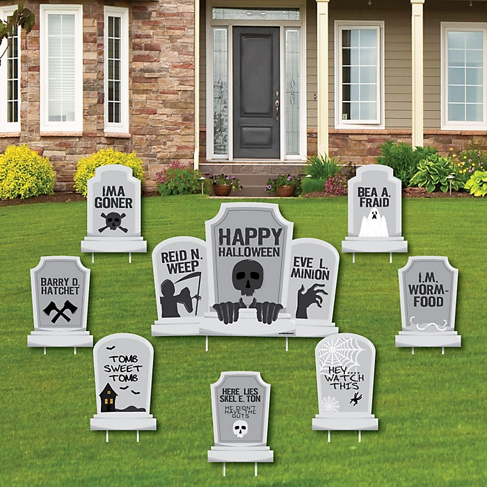 Graveyard Tombstones - Yard Sign & Outdoor Lawn Decorations - Halloween  Party Yard Signs - Set of 8