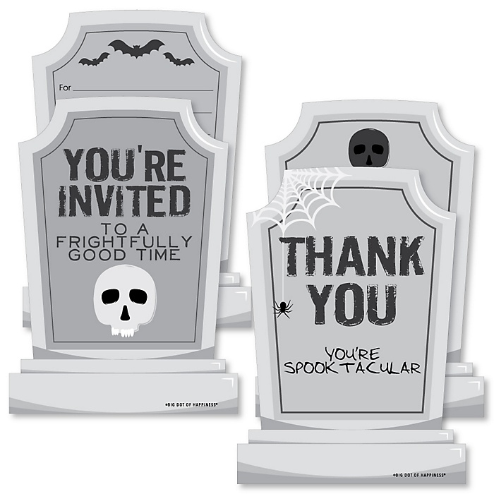 Graveyard Tombstones - 20 Shaped Fill-In Invitations and 20 Shaped Thank You Cards Kit - Halloween Party Stationery Kit - 40 Pack