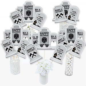 Graveyard Tombstones - Halloween Party Centerpiece Sticks - Table Toppers - Set of 15