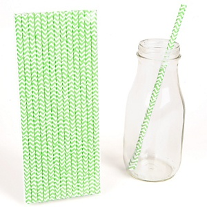 Green Chevron Paper Straws - Baby Shower Do It Yourself - 25 Count