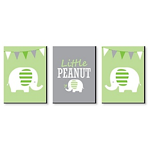 Green Elephant - Gender Neutral Nursery Wall Art & Kids Room Décor - 7.5 x 10 inches - Set of 3 Prints