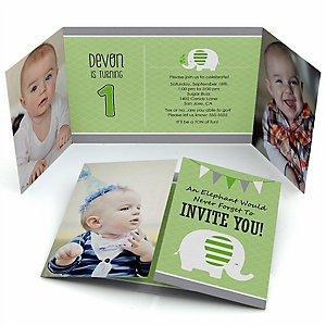 Green Elephant - Personalized Birthday Party Photo Invitations - Set of 12