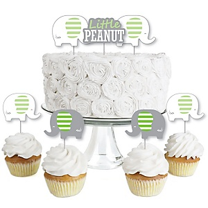 Green Elephant - Dessert Cupcake Toppers - Boy Baby Shower or Birthday Party Clear Treat Picks - Set of 24