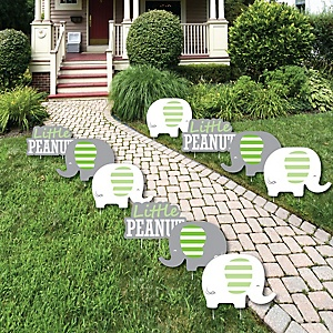 Green Elephant - Lawn Decorations - Outdoor Baby Shower or Birthday Party Yard Decorations - 10 Piece