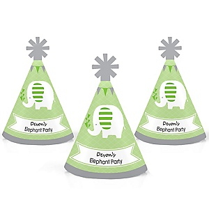 Green Elephant - Personalized Mini Cone Baby Shower or Birthday Party Hats - Small Little Party Hats - Set of 10