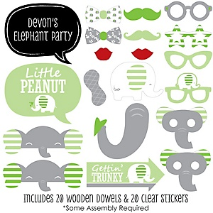 Green Elephant - 20 Piece Baby Shower or Birthday Party Photo Booth Props Kit