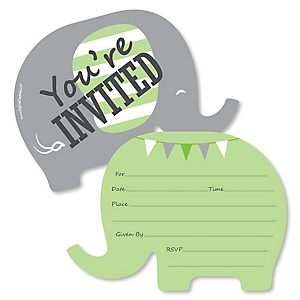 Green Elephant - Shaped Fill-In Invitations - Baby Shower or Birthday Party Invitation Cards with Envelopes - Set of 12