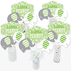 Green Elephant - Baby Shower or Birthday Party Centerpiece Sticks - Table Toppers - Set of 15