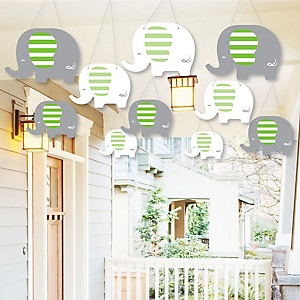 Hanging Green Elephant - Outdoor Baby Shower or Birthday Party Hanging Porch & Tree Yard Decorations - 10 Pieces