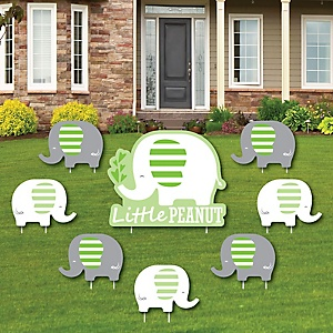 Green Elephant - Yard Sign & Outdoor Lawn Decorations - Baby Shower or Birthday Party Yard Signs - Set of 8
