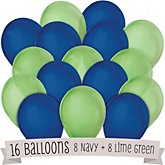 Navy and Lime Green - Baby Shower Latex Balloons - 16 ct