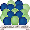 Navy and Lime Green - Birthday Party Latex Balloons - 16 ct