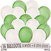 Lime Green and White - Birthday Party Latex Balloons - 16 ct