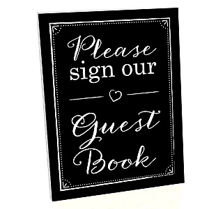 Guest Book Sign - Printed on Sturdy Plastic Material - 10.5 x 13.75 inches - Sign with Stand - 1 Piece