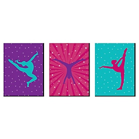 Tumble, Flip and Twirl - Gymnastics - Sports Themed Wall Art, Kids Room Decor and Game Room Home Decorations - 7.5 x 10 inches - Set of 3 Prints