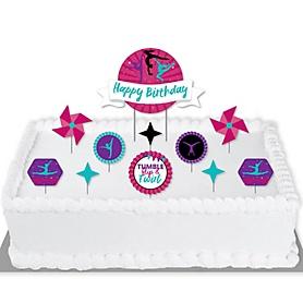 Tumble, Flip & Twirl - Gymnastics - Gymnast Birthday Party Cake Decorating Kit - Happy Birthday Cake Topper Set - 11 Pieces