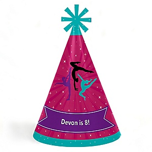 Tumble, Flip & Twirl - Gymnastics - Personalized Cone Happy Birthday Party Hats for Kids and Adults - Set of 8 (Standard Size)