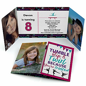 Tumble, Flip & Twirl - Gymnastics - Personalized  Gymnast Party Photo Invitations - Set of 12
