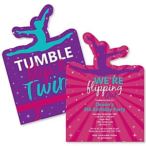 Tumble, Flip & Twirl - Gymnastics - Shaped Gymnast Birthday Party Invitations - Set of 12