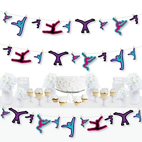 Tumble, Flip & Twirl - Gymnastics - Birthday Party or Gymnast Party DIY Decorations - Clothespin Garland Banner - 44 Pieces