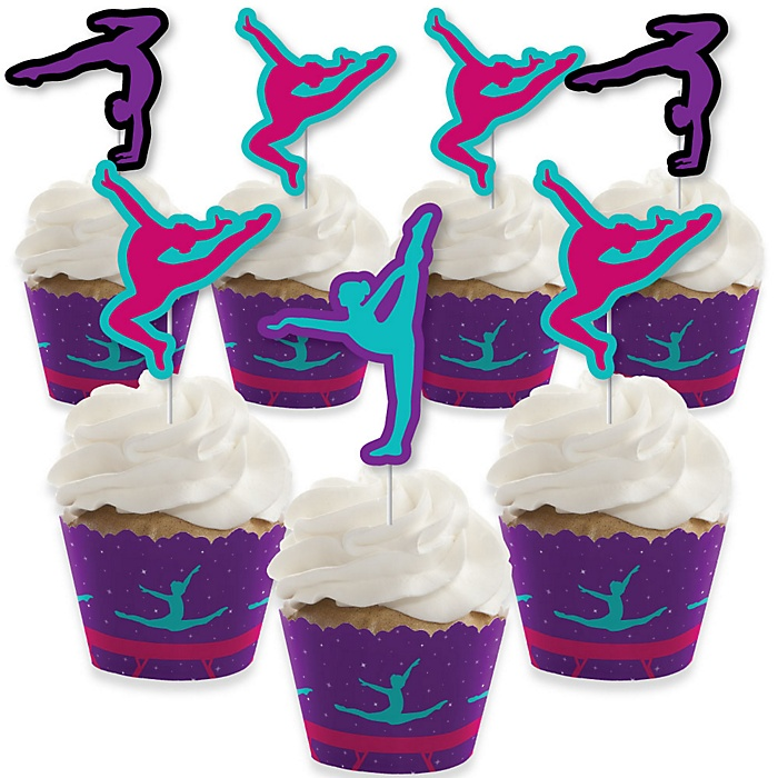 Tumble, Flip & Twirl - Gymnastics - Cupcake Decoration - Birthday Party or Gymnast Party Cupcake Wrappers and Treat Picks Kit - Set of 24