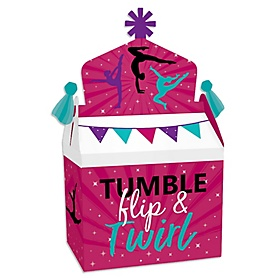 Tumble, Flip & Twirl - Gymnastics - Treat Box Party Favors - Birthday Party or Gymnast Party Goodie Gable Boxes - Set of 12