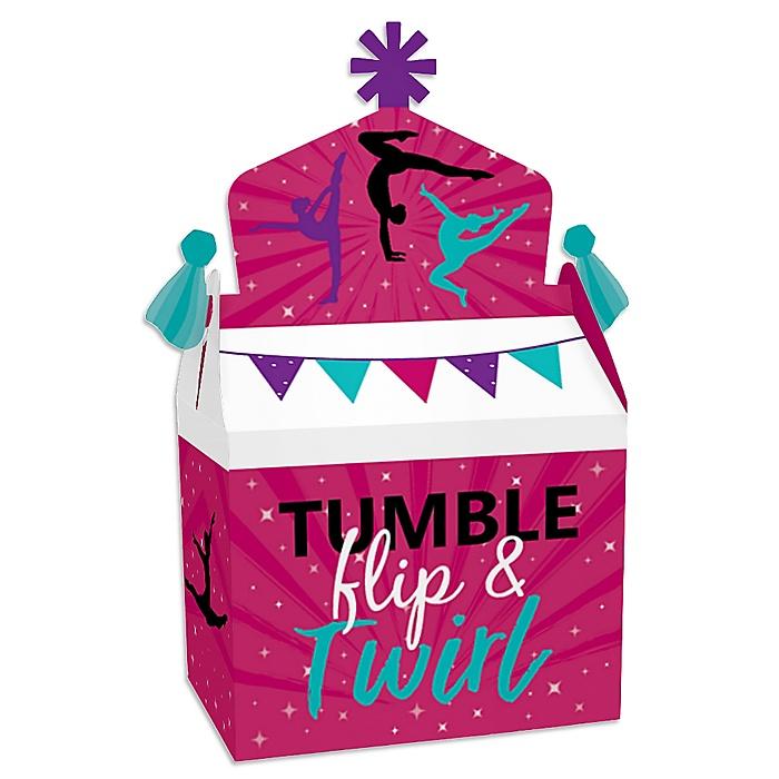 Tumble, Flip & Twirl - Gymnastics - Treat Box Party Favors - Birthday Party or Gymnast Party Goodie Gable Boxes - Set of 12