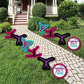 Tumble, Flip & Twirl - Gymnastics - Lawn Decorations - Outdoor Birthday Party or Gymnast Party Yard Decorations - 10 Piece