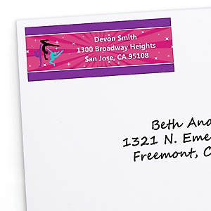 Tumble, Flip & Twirl - Gymnastics - Personalized Birthday Party or Gymnast Party Return Address Labels - 30 ct