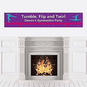 Tumble, Flip & Twirl - Gymnastics - Personalized Birthday Party or Gymnast Party Banner