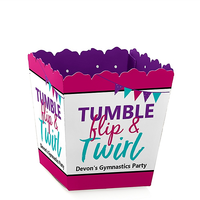 Tumble, Flip & Twirl - Gymnastics - Party Mini Favor Boxes - Personalized Birthday Party or Gymnast Party Treat Candy Boxes - Set of 12