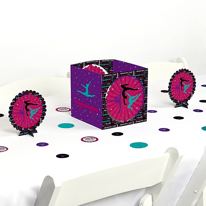 Tumble, Flip & Twirl - Gymnastics - Birthday Party or Gymnast Party Centerpiece and Table Decoration Kit