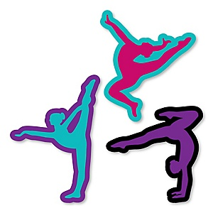 Tumble, Flip & Twirl - Gymnastics - DIY Shaped Birthday Party or Gymnast Party Cut-Outs - 24 ct