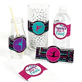 Tumble, Flip & Twirl - Gymnastics - DIY Party Supplies - Birthday Party or Gymnast Party DIY Wrapper Favors & Decorations - Set of 15