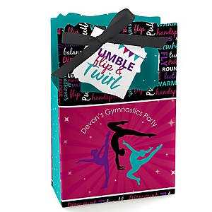 Tumble, Flip & Twirl - Gymnastics - Personalized Birthday Party or Gymnast Party Favor Boxes - Set of 12